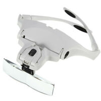 New Headband LED Head Light Magnifier Magnifying Glass Loupe 5 Lens with Belt
