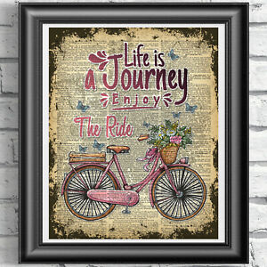 Wall-Art-Picture-Life-is-a-Journey-Quote-on-Antique-Dictionary-Book-Page-Bike