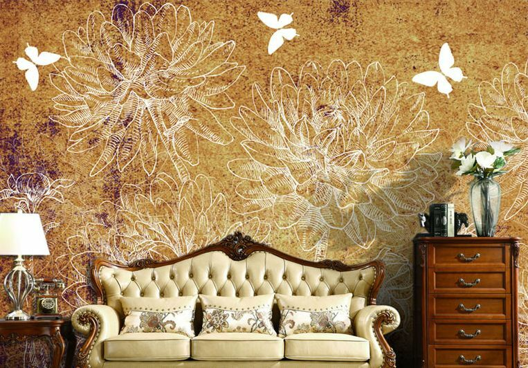 Huge 3D Flower Weiß Lines Paper Wall Print Decal Wall Deco Indoor wall Murals