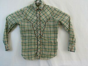 California-Ivy-Womens-M-western-pearl-snap-button-shirt-yellow-and-blue-plaid