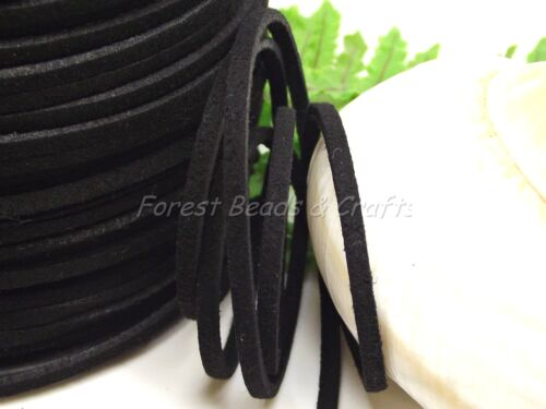 5 Meters Soft Faux Suede Cord 3mm x 1.5mm ~Plain~Glitter~Choose~ NEW ADDED ~ UK
