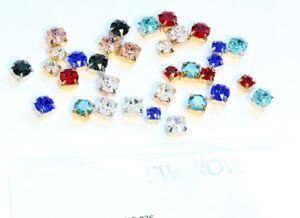 Genuine-SWAROVSKI-1088-Chaton-Crystals-in-Setting-4-Holes-Sew-On