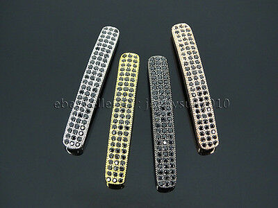 3 Row Zircon Gemstones Pave Curved Bar Bracelet Connector Charm Beads