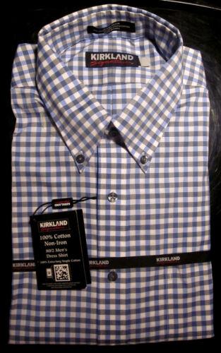 NWT KIRKLAND NON-IRON 80//2 BUTTON DOWN DRESS SHIRT BLUE//WHITE//GRAY CHECK 15.5 32