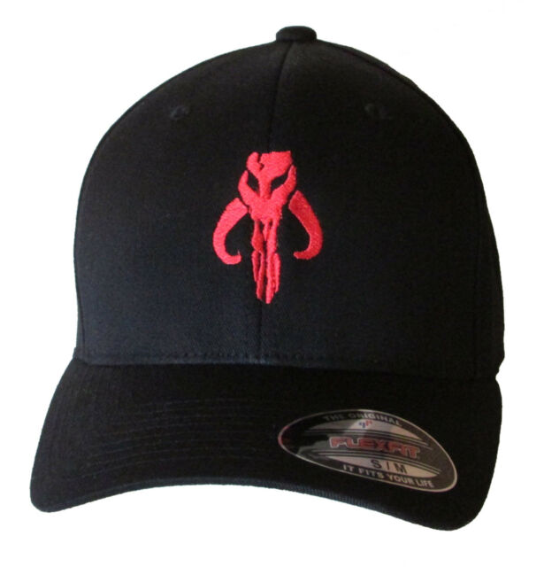 584c06a7594 Boba Fett - Mandalorian Skull in RED Embroidered Baseball Hat Cap OSFA    FlexFit