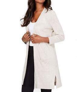 Kasper Womens Sweaters Beige Size Large L Cardigan Open-Front Pocket $89- 548