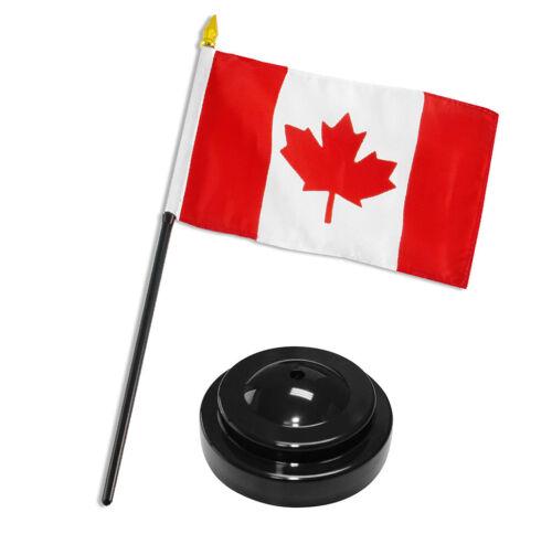 "Canada 4/""x6/"" Flag Desk Set Table Stick Black Base"