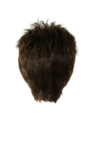3/'/' Short Spiky Combed Back Wig with no Part Espresso Brown Cosplay Wig NEW