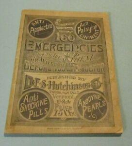 1888 100 Emergencies Dr. Hutchinson Anodyne Pearls Booklet Enosburgh Falls VT