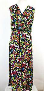 Matthew-Williamson-Butterfly-Abstract-Rainbow-Print-Long-Maxi-Dress-UK-18