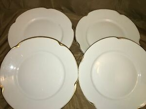 Image is loading 4-J-&-C-LOUISE-Bavaria-white-gold- & 4 Ju0026C LOUISE Bavaria white gold daub trim antique dinner plates ...