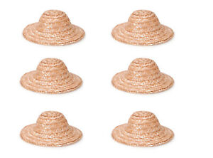 "Lot of 4 Natural Large 9/"" Bonnet Straw Sun Hats Dolls Bears Crafts R.B Howell"