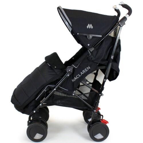 New Luxury Footmuff Black Fit Maclaren Quest Triumph Techno 2012 Range