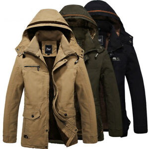 Mens-Winter-Military-Hooded-Jacket-Parka-Warm-Fur-Lined-Long-Coat-Outerwear