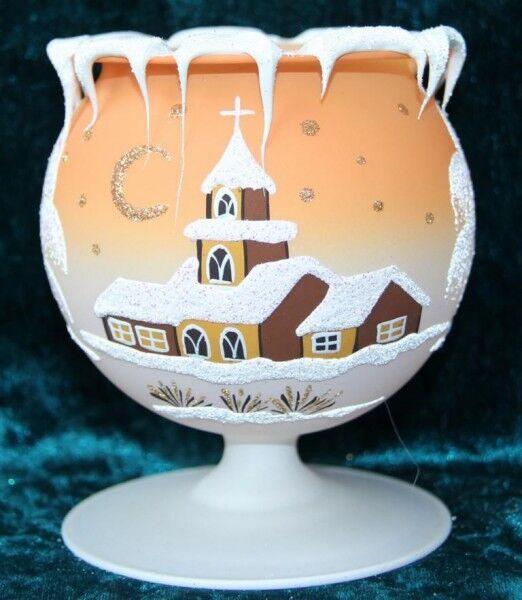 10 unidades para cáliz lamparillas de vidrio naranja navidad mano pintado