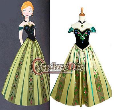 31 - S M L Frozen Princess Anna Coronation Cosplay Adult Woman Gown Dress Green