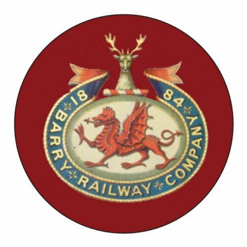 BARRY RAILWAY COMPANY INSPIRED STICKERS x 4 BRAND NEW ROUND CLASS