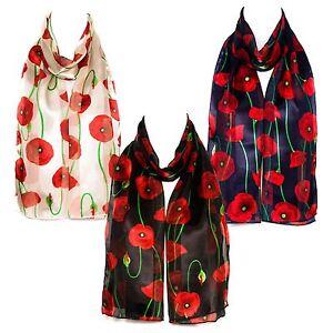 Poppy-Print-Chiffon-Satin-Ladies-Scarf