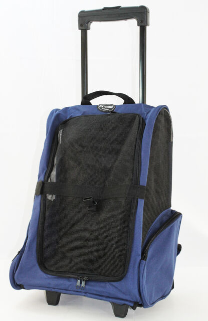 f9bdc632689d Blue Pet Carrier Dog Rolling Backpack Wheel Luggage Travel Airline Bag