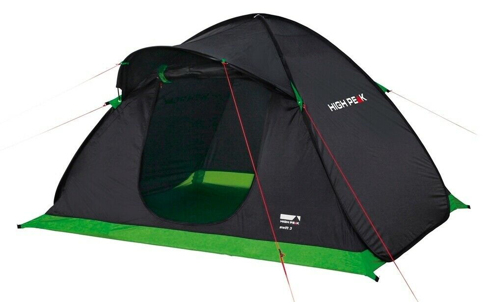 High Peak Swift 3 Personen Zelt Pop Up Wurfzelt Campingzelt anthrazit grün NEU