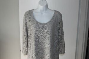 New-York-amp-Company-Women-039-s-Size-XL-100-Cotton-Floral-Lace-3-4-Sleeve-Blouse