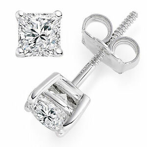 655f67442 3CT 14k White Gold Lab Diamond Earrings Princess Cut Stud Butterfly ...