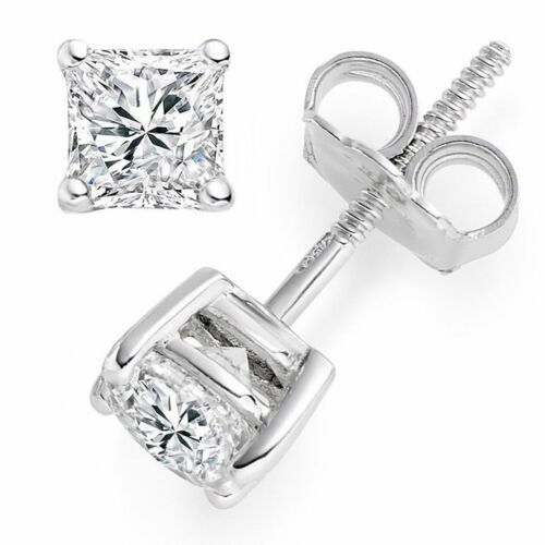 3CT 14k White Gold Lab Diamond Earrings Princess Cut Stud Butterfly Screw Back