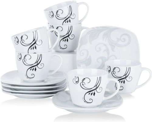 VEWEET /'Zoey/' China Porcelain White Black Decals Dinner Dessert Soup Plate Set