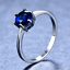 1-6ct-Round-Cut-Blue-Sapphire-Engagement-Ring-14k-White-Gold-Finish-Solitaire thumbnail 2