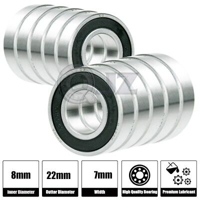 8x SS 608-2RS Ball Bearing Roller Skate Board Long Board Inline Stainless Steel