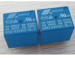 50pcs 5pins 3V SRD-03VDC-SL-C 10A 250VAC SONGLE Relay