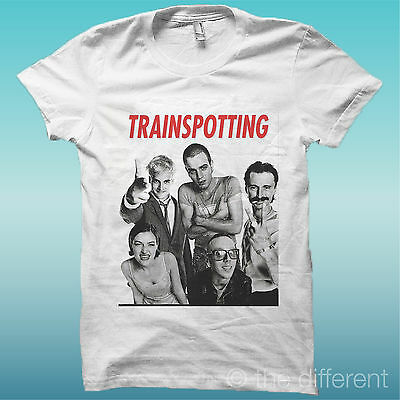 """T-SHIRT """" TRAINSPOTTING """"  FILM BIANCO THE HAPPINESS IS HAVE MY T-SHIRT NEW"""