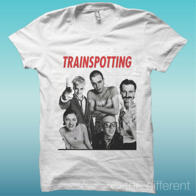 "T-SHIRT "" TRAINSPOTTING ""  FILM BIANCO THE HAPPINESS IS HAVE MY T-SHIRT NEW"