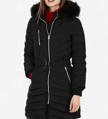 NEW Express Ivory Long  Toggle Puffer Coat Women L Large