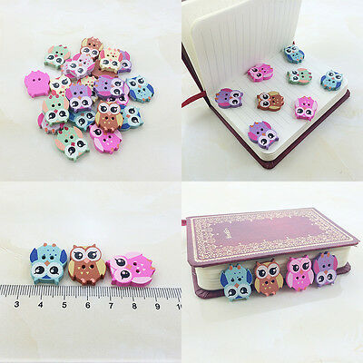 100Pcs Bulk Cute owl Baby Wooden Sewing Buttons Scrapbooking 2 Holes