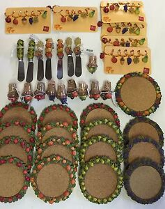 68pc-RUSS-BERRIE-amp-CO-Wine-Cellar-Glass-Coasters-Glass-Charms-Corks-amp-Knifes