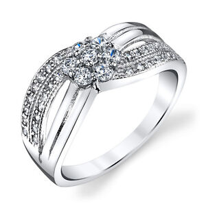 Pave 2 Cts Cubic Zirconia 925 Sterling Silver Halo Engagement Simulate Ring RS26