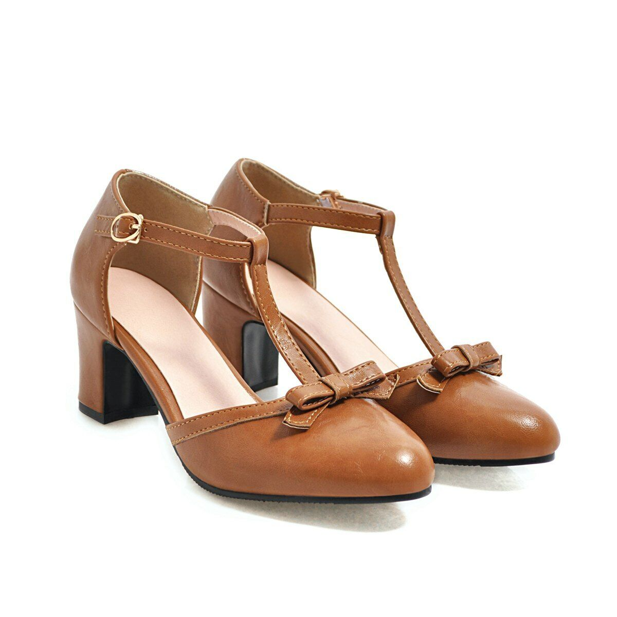 Womens Mary Janes T-Strap Round Toe Block Heels Faux Leather Leather Leather Bows Casual shoes 75a858