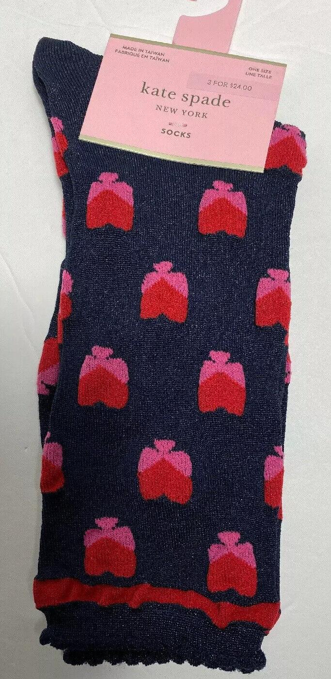 Kate Spade NY Crew Socks With Red Design (logo)