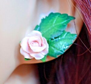 Image Is Loading Pink Rose Stud Earrings Handmade Polymer Clay Nature