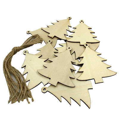 10Pcs Wooden Tags Christmas Tree Decor Art Crafts Ornaments DIY 8cm with Strings