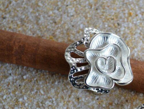 Edelstahl Ring kunstvolle modern Art Blüte weiß silber  Edelstahlring  ME 249