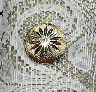 VINTAGE SCARF CLIP SIGNED WEST GERMANY ROUND TEXTURED GOLD TONE SILVER STABURST