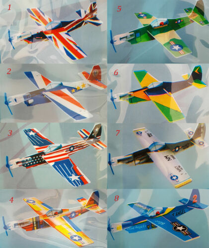 8 Designs Super Flyer With Propeller Glider Plane Flight Ideal Party Gift Toy UK