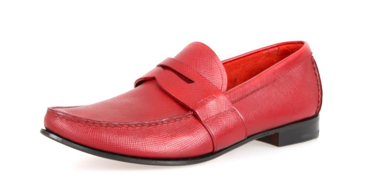 AUTHENTIC LUXURY 10 PRADA BUSINESS SHOES 2DA060 RED SAFFIANO US 10 LUXURY EU 43 43,5 Scarpe classiche da uomo 84bf38