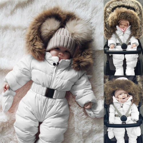 Warm Winter Infant Baby Boy Girl Romper Jacket Hooded Jumpsuit Thick Coat Outfit