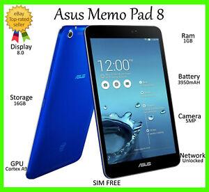 Asus Memo Pad 8 pulgadas 16GB azul de 4 G + Wifi ~ Desbloqueado ~ 3950mAh Intel HD Tablet