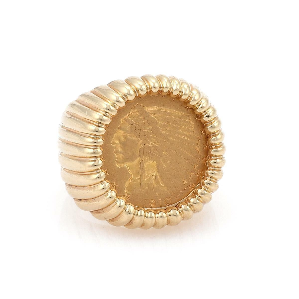 Estate 22k Indian Head Coin 14k Yellow gold Fancy Fluted Men's Ring Size 9