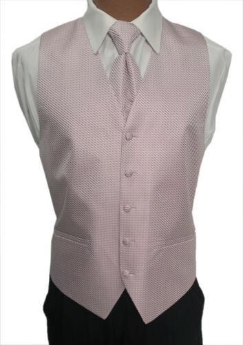 X-Large Mens Light Rose Pink Cardi Venetian Wedding Fullback Tuxedo Vest w// Tie