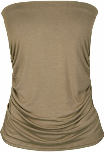 Ladies Plain Strapless Sleeveless Ruched Boob Tube Womens Bandeau Top New 8-22